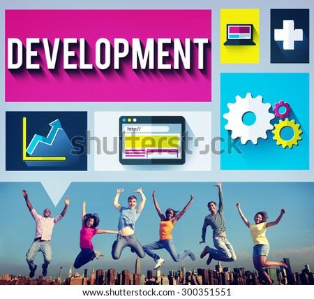 Development Improvement Growth Team Goals Concept - stock photo