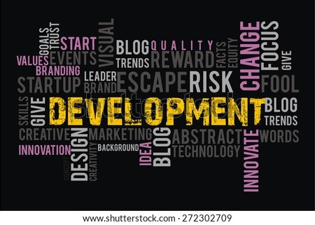 development in words cloud collage with black background color - stock photo