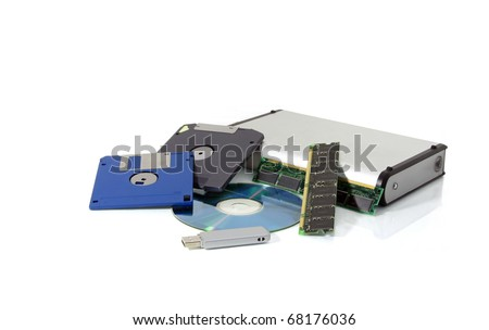 Development of electronic data storage medium - floppy disk, zip, cd, chips, external hard drive, usb - stock photo