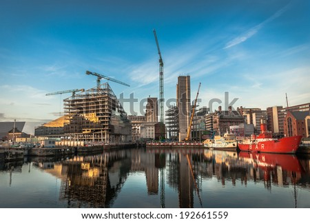Development of new modern buildings on Mann Island, Liverpool taken from the Albert Dock. - stock photo