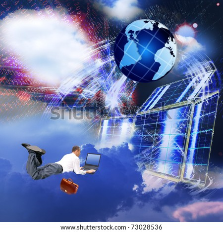 Development of the newest telecommunication and the Internet of technologies in free space - stock photo
