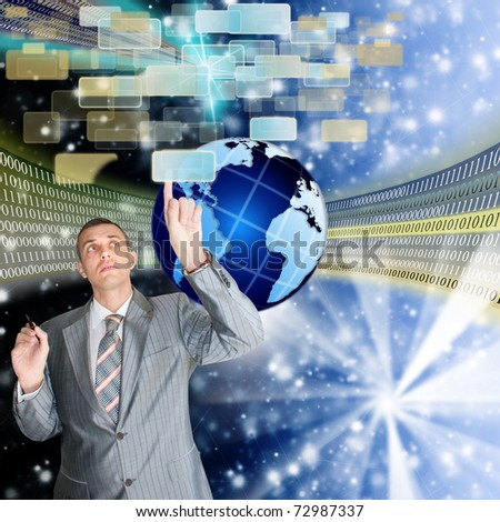 Development of the newest telecommunication and the Internet of technologies is opened by ample opportunities for mankind in the future - stock photo