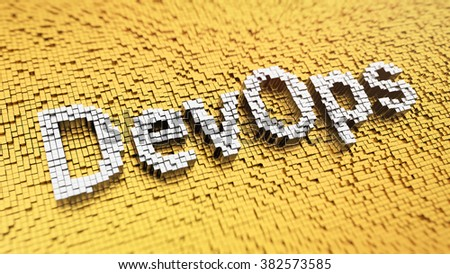 Development operations culture. Pixelated word DevOps made from cubes, mosaic pattern. 3D illustration picture - stock photo