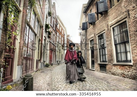 DEVENTER  NETHERLANDS ; Costumed participants at the Dickens Festival on 21 december 2014.More than 950 characters from the famous books of Charles Dickens relives in Deventer