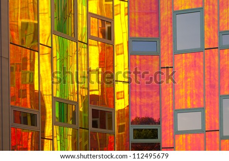 DEVENTER, NETHERLANDS - JUNE 26: Detail of the office building L'arc-en Ciel on June 26, 2012 in Deventer, Netherlands. Deventer is the 5th oldest city in the Netherlands with almost 100,000 residents - stock photo