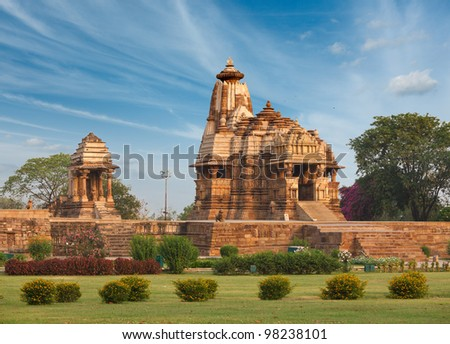 Devi Jagdamba temple and mahadev mandapa on sunrise. Khajuraho, India