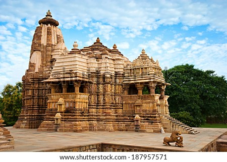 Devi Jagdambi Temple, dedicated to Parvati, Western Temples of Khajuraho. Unesco World Heritage Site. Popular amongst tourists all over the world.  - stock photo