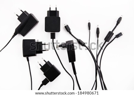 device chargers isolated on white