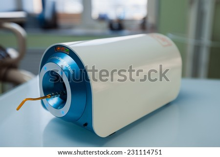 Device for disinfecting dental tools - stock photo