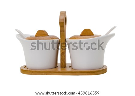 Device for sauces on a white background - stock photo