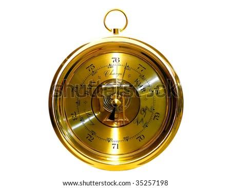 Device for weather forecast (barometer) isolated on white background - stock photo
