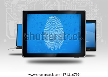 Device Identity Check. Tablet Computer with Fingerprint Screen Check. Identity Check Software. - stock photo