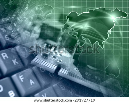 Device, keyboard and map - abstract computer background in greens and blues. - stock photo