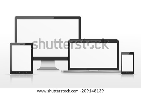 device set that includes TV, tablet, smart phone and laptop over white background - stock photo