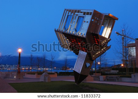 device to root out evil, upside down church at coal harbor, vancouver - stock photo