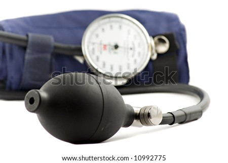 Device used to check the blood-pressure isolated on white - stock photo