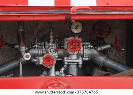 devices fire truck - stock photo