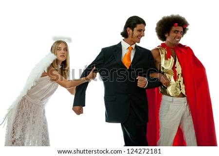devil and angel fighting for a young businessman - stock photo