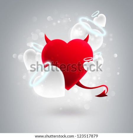 Devil and angel hearts together at silver glitter background. Valentine day greeting card template - stock photo