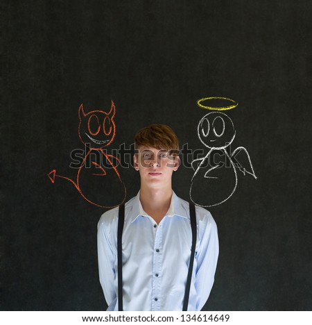 Devil and angel on shoulder business man, student or teacher making decision - stock photo