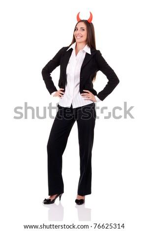 devil businesswomen, evil boss, isolated on white background - stock photo