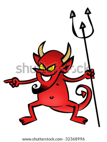 devil cartoon - stock photo