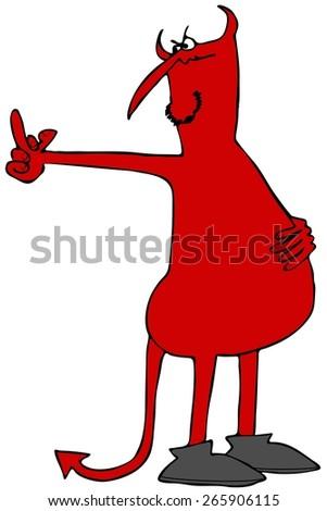 Devil flipping the bird - stock photo