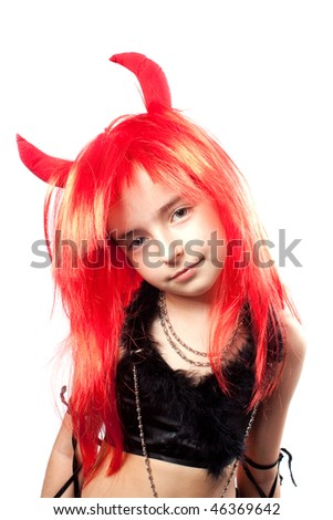 Devil girl. Devils carnival  costume. Isolated.