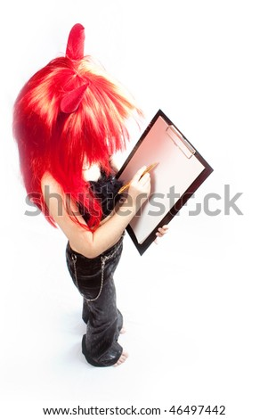 Devil girl. Devils carnival  costume. Isolated. - stock photo