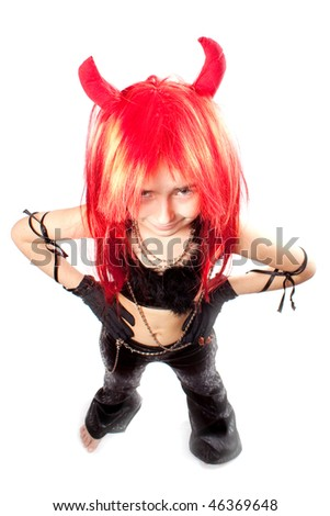 Devil girl. Devils carnival  costume. Isolated. Above