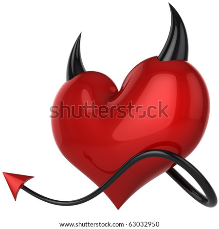 Devil heart. Fateful love. Lover concept. Red shiny heart shape with black horns and a tail. This is a detailed 3D rendering (Hi-Res). Isolated on white - stock photo