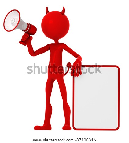 Devil holding a blank sign and shouting through a megaphone. Isolated on white