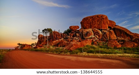 Devil marbles, Northern territory Australia - stock photo
