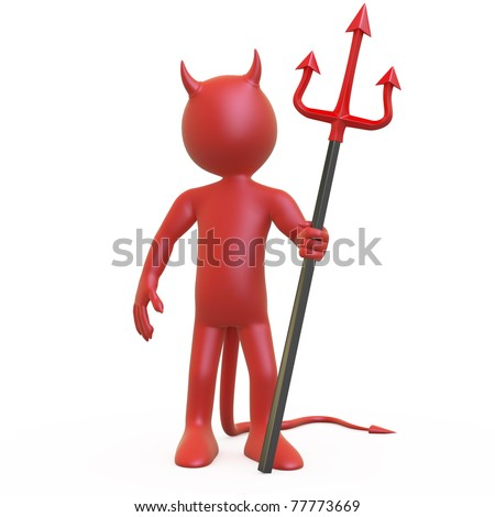 Devil posing with his red and black trident - stock photo