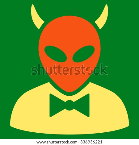 Devil raster icon. Style is flat bicolor orange and yellow symbol, rounded angles, green background. - stock photo