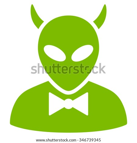 Devil raster icon. Style is flat eco green symbol, rounded angles, white background. - stock photo
