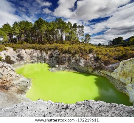 Devil's Bath pool in Waiotapu Thermal Reserve, Rotorua, New Zealand - stock photo