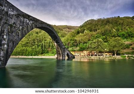 devil's bridge, ponte della maddalena - stock photo