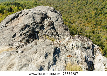 Devil's Courthouse overlook view and rock formation - stock photo