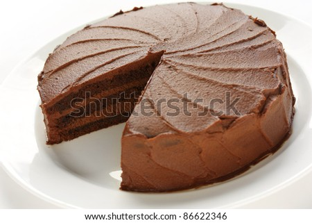 devil's food cake on a white background - stock photo