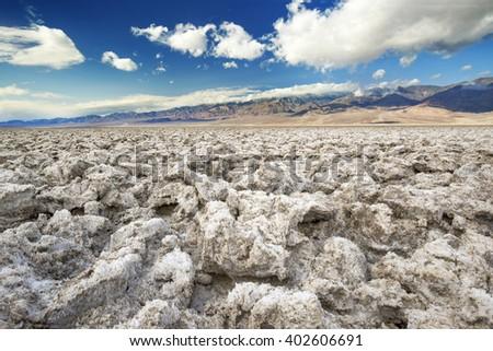 Devil's Golf Course, Death Valley National Park - stock photo