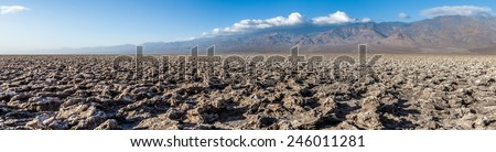 Devil's Golf Course in Death Valley National Park, panoramic view - stock photo