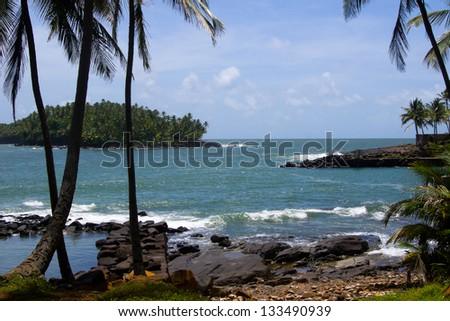 Devil's island in French Guiana. The island was used as a penal colony from 1852.  The French government stopped sending prisoners to Devil's Island in 1946/French Guiana Devils island - stock photo