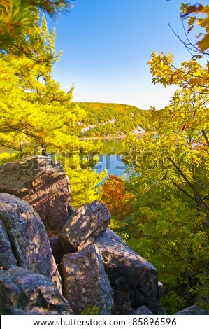 Devil's Lake - View from the Tumbled Rocks Trail - stock photo
