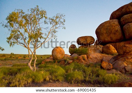 devil's marbles, in the australian outback, northern territory - stock photo