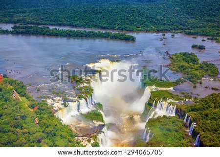 Devil's Throat - largest waterfall  of the Iguazu River in South America. Picture taken from a helicopter - stock photo