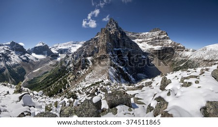 Devil's Thumb Hike, Scramble Mount Lefroy (left), Mount Victoria, Mount White (center), Mount Niblock (right) Lake Louise, Banff National Park, Alberta, Canada Picture taken on August 22, 2015 - stock photo