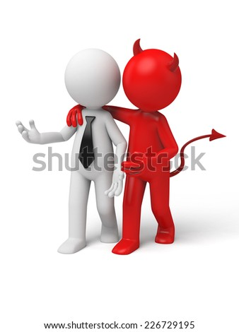 Devil whispering to Businessman. 3d image. Isolated white background - stock photo
