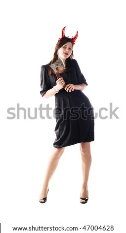 devil-woman - cute young pretty girl in black dress with red horns