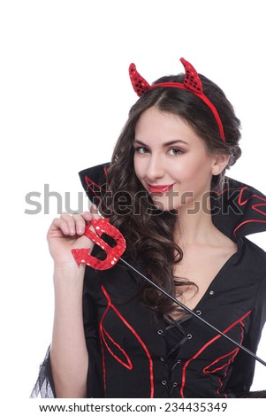 Devil woman isolated - stock photo